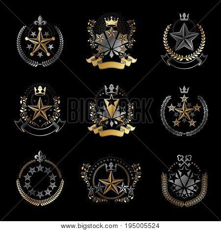 Pentagonal Stars emblems set. Heraldic Coat of Arms vintage vector logo collection.