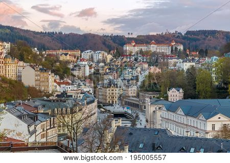 View of historical center of Karlovy Vary from hill Czech republic