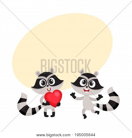 Two little raccoon characters, one holding big red heart, another jumping from happiness, cartoon vector illustration with space for text. Happy little raccoon friends showing joy and love
