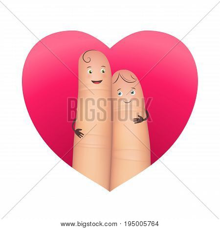 Couple in red heart. Pair of realistic happy fingers smiley in love. Effective romantic emotional image. Flat style vector illustration on white background
