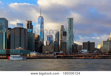 Lower Manhattan in the background of in a sunny morning, New York, United States