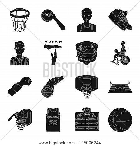 Ball, game, sport, fitness and other icons of basketball. Basketball set collection icons in black style vector symbol stock illustration.