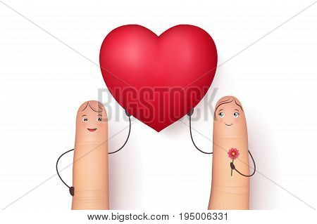 Two funny fingers holding red heart . Inspirational love message for husband, boyfriend or special person. Flat style vector realistic illustration