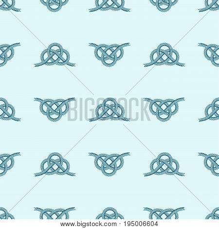 Navy blue rope with marine knots seamless pattern vector. Sea boat shipping natural tackle sign vessel. Yacht white navy cable sea boat knots lashing bend net string design.