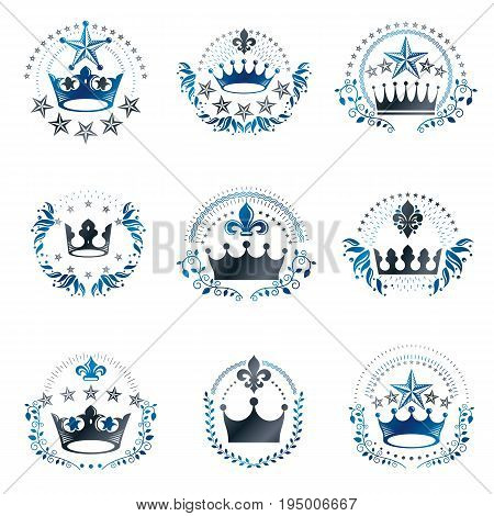 Royal Crowns emblems set. Heraldic vector design elements collection. Retro style label heraldry logo.