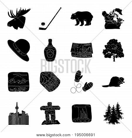 Wild animal, deer, horns and other Canada elements. Canada set collection icons in black style vector symbol stock illustration.