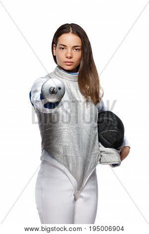 Young Woman Fencer Pointing Sword At You