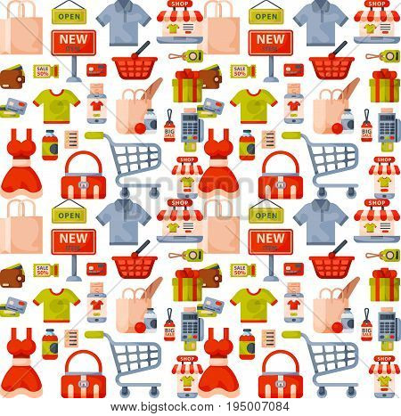 Online store shop website clothes and goods vector seamless pattern background illustration. Shopping family clothing, goods and equipment