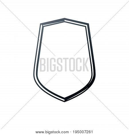 Antique frame with empty copy-space vector security shield or shelter. Classic heraldic blank geometric shape. Retro style label picture border.
