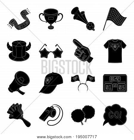 Cap, scoreboard, whistle and other fans equipment. Fans set collection icons in black style vector symbol stock illustration.