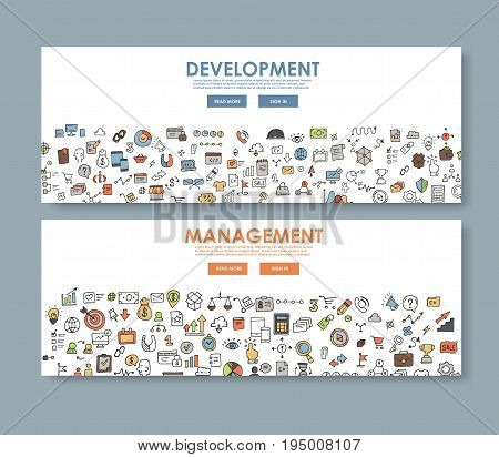 Doodle design style concept banner, development and management. template for web and print.