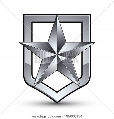 Vector glorious glossy design element with luxury 3d silver star silvery conceptual graphic template clear EPS 8 complicated shield.