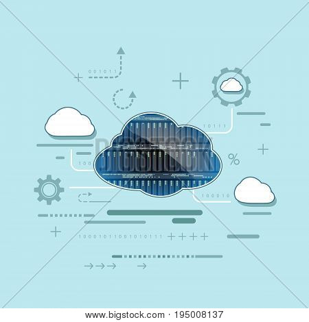 Cloud computing. Server for data storage. Technology background. Stock vector illustration in flat graphics style.