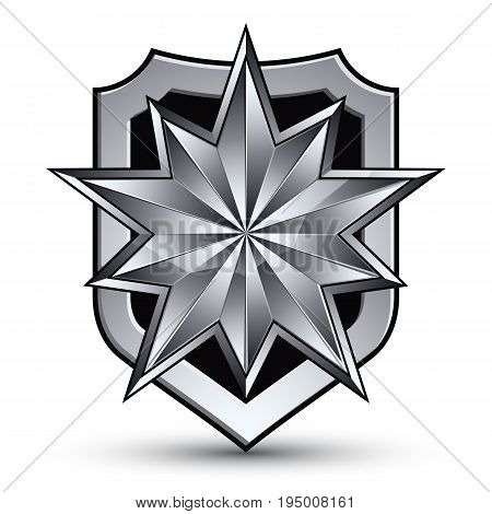 3d heraldic vector template with polygonal silver star complicated dimensional royal geometric medallion isolated on white background.