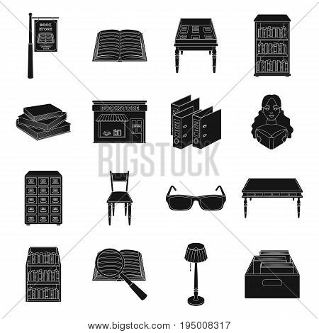 Library and bookstore set icons in black design. Big collection of library and bookstore vector symbol stock illustration