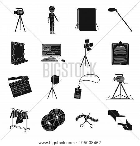 A movie camera, a floodlight, a chromakey and other equipment for the cinema.Making movie set collection icons in black style vector symbol stock illustration .