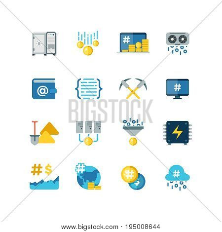 Flat vector crypto-currency icons. Mining  and blockchain wallet