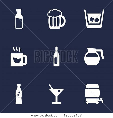Set Of 9 Drinks Icons Set.Collection Of Fizzy Water, Teapot, Milk Glass And Other Elements.