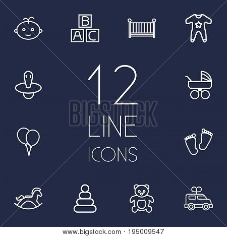 Set Of 12 Baby Outline Icons Set.Collection Of Clockwork Car, Crib, Balloon And Other Elements.