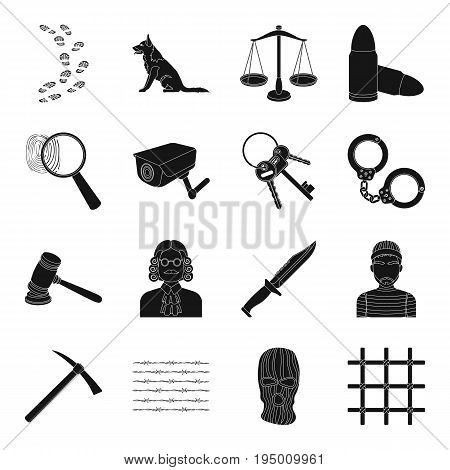Camcorder, handcuffs, lattice attributes of the prison.Prison set collection icons in black style vector symbol stock illustration .