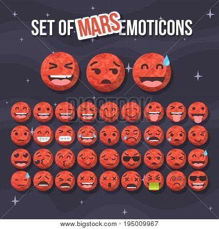 Set of cute mars smiley. Mars emoticons, flat emoji, vector illustration.