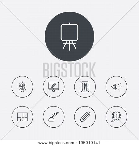 Set Of 9 Constructive Outline Icons Set.Collection Of Brain, Monitor, Vision And Other Elements.