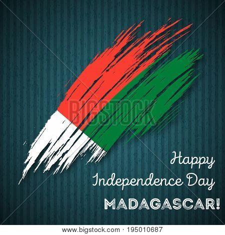 Madagascar Independence Day Patriotic Design. Expressive Brush Stroke In National Flag Colors On Dar