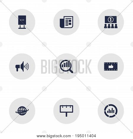 Set Of 9 Trade Icons Set.Collection Of Auditorium, World, Placard And Other Elements.