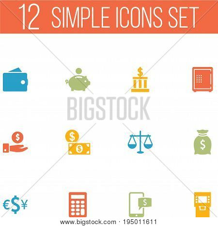Set Of 12 Budget Icons Set.Collection Of Currency, Sack, Save Money And Other Elements.