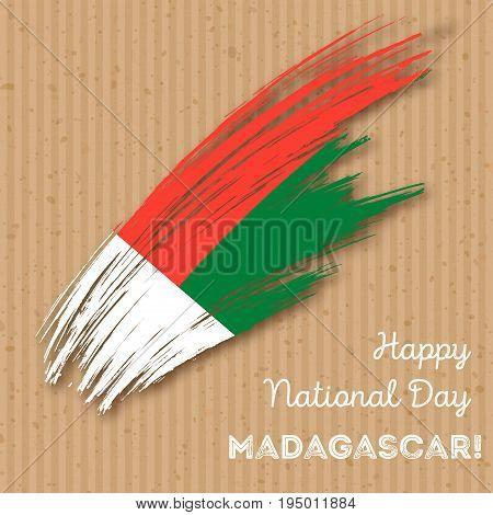 Madagascar Independence Day Patriotic Design. Expressive Brush Stroke In National Flag Colors On Kra