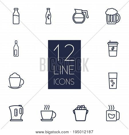 Set Of 12 Beverages Outline Icons Set.Collection Of Coffeepot, Beer, Fizzy Water And Other Elements.