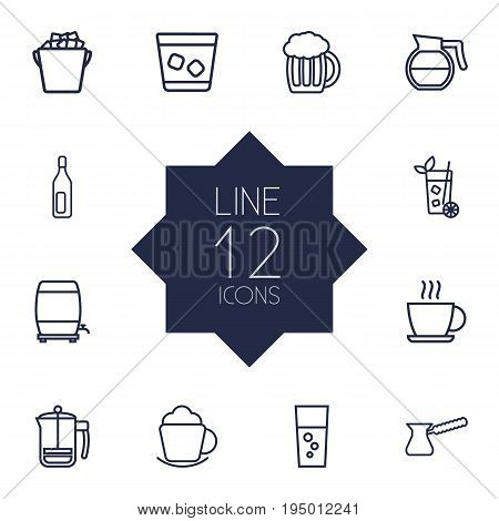 Set Of 12 Beverages Outline Icons Set.Collection Of French Press, Ice Bucket, Fizzy Water And Other Elements.