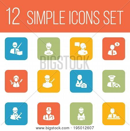 Set Of 12 Professions Icons Set.Collection Of Manager, Coder, Planner And Other Elements.