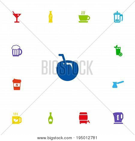 Set Of 13 Drinks Icons Set.Collection Of Mug, Cup, Cask And Other Elements.