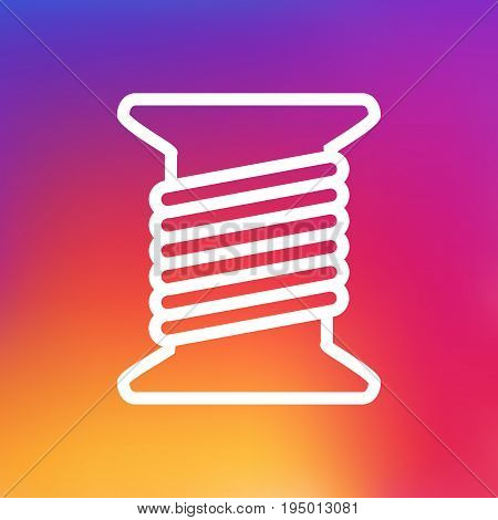 Isolated Spool Outline Symbol On Clean Background. Vector Bobbin Element In Trendy Style.