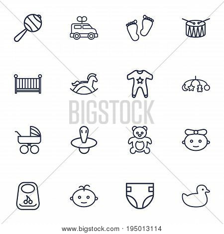 Set Of 16 Baby Outline Icons Set.Collection Of Teddy, Drum, Smock And Other Elements.