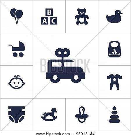 Set Of 13 Kid Icons Set.Collection Of Pram, Abc Block, Toy And Other Elements.