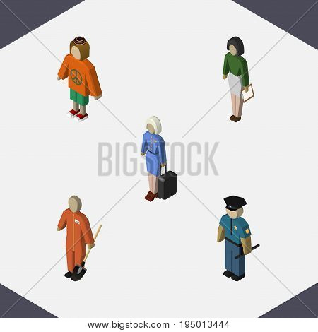 Isometric Person Set Of Lady, Hostess, Pedagogue And Other Vector Objects. Also Includes Hostess, Stewardess, Policeman Elements.