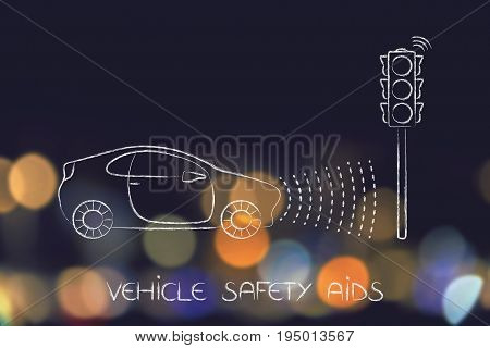 Vehicle With Sensors Detecting Proximity With Street Light
