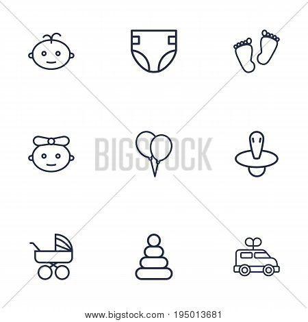 Set Of 9 Kid Outline Icons Set.Collection Of Pyramid, Diaper, Balloon And Other Elements.