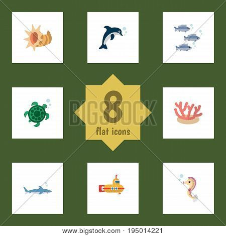 Flat Icon Nature Set Of Algae, Playful Fish, Hippocampus And Other Vector Objects. Also Includes Shark, Submarine, Fish Elements.