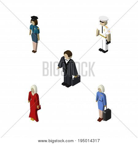 Isometric Human Set Of Seaman, Female, Policewoman And Other Vector Objects. Also Includes Woman, Female, Businessman Elements.