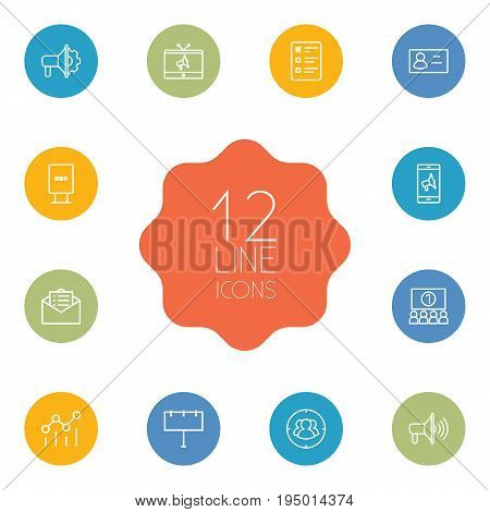 Set Of 12 Advertising Outline Icons Set.Collection Of Campaign, Audience, Email Promotion And Other Elements.