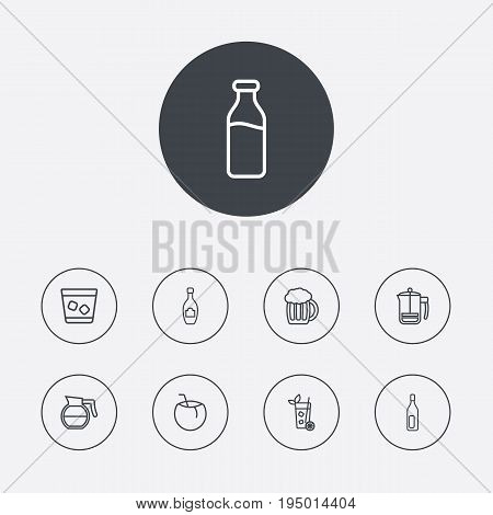 Set Of 9 Beverages Outline Icons Set.Collection Of French Press, Dairy, Coffeepot And Other Elements.