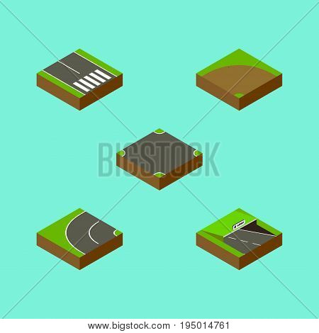 Isometric Road Set Of Pedestrian , Way, Sand Vector Objects. Also Includes Strip, Bitumen, Sand Elements.