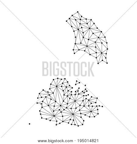 Antigua and Barbuda map of polygonal mosaic lines network rays and dots vector illustration.