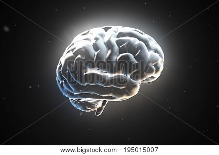 Big Strong Brain Pulsing In White 3D Illustration