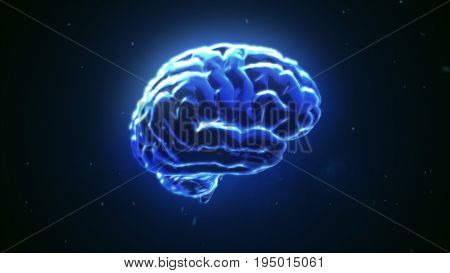 Big Strong Brain Pulsing In Blue 3D Illustration