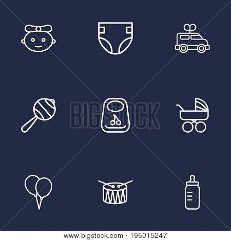 Set Of 9 Child Outline Icons Set.Collection Of Bib, Rattles, Clockwork Car And Other Elements.