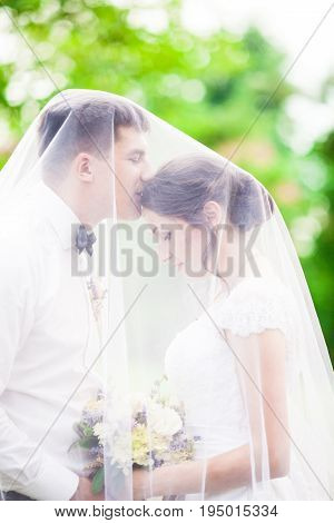 Adorable beauty wedding couple gone kissing outdoor under the veil